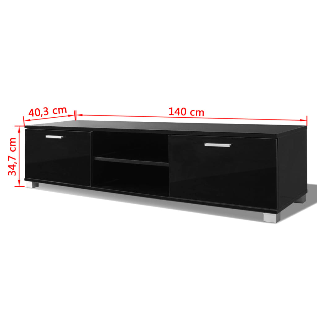 der vidaxl tv schrank hochglanz schwarz 140x40 3x34 7 cm online shop. Black Bedroom Furniture Sets. Home Design Ideas