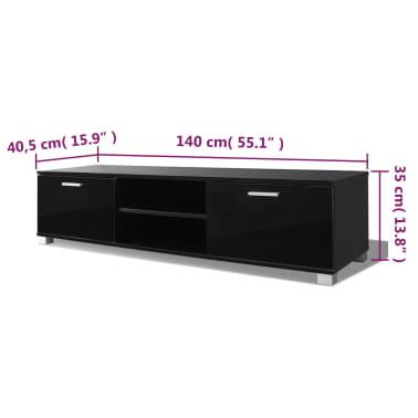 Acheter vidaxl meuble tv noir brillant 140 x 40 3 x 34 7 - Meuble pour tv 140 cm ...