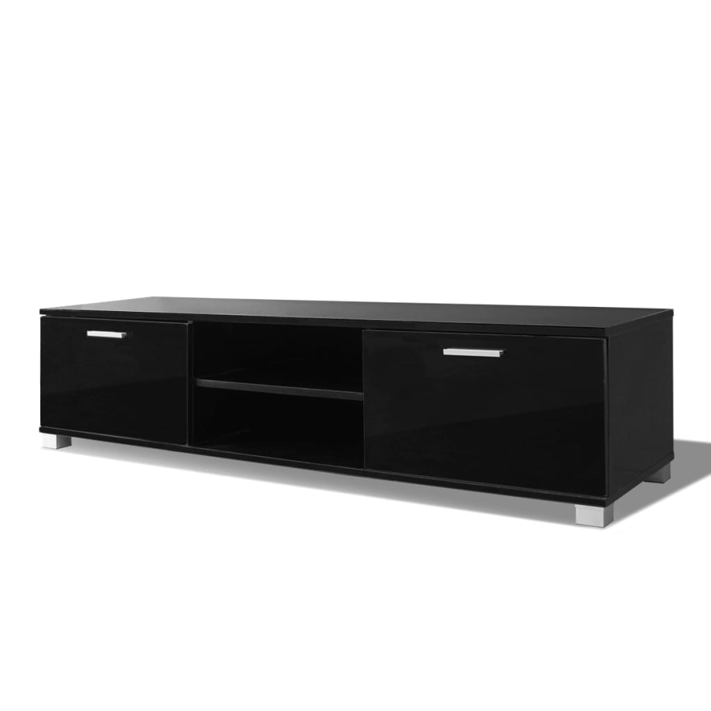 acheter vidaxl meuble tv noir brillant 140 x 40 3 x 34 7 cm pas cher. Black Bedroom Furniture Sets. Home Design Ideas