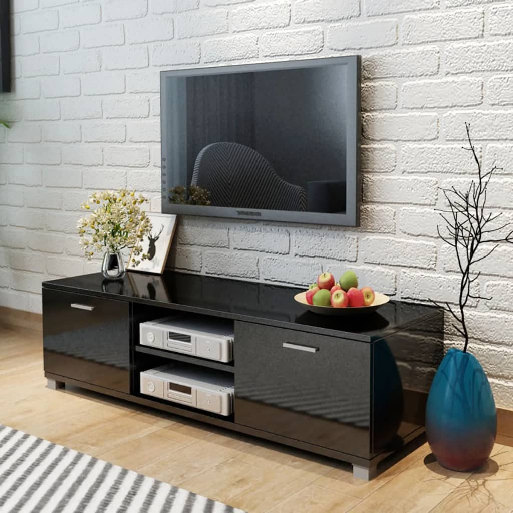 acheter vidaxl meuble tv noir brillant 140 x 40 3 x 34 7. Black Bedroom Furniture Sets. Home Design Ideas