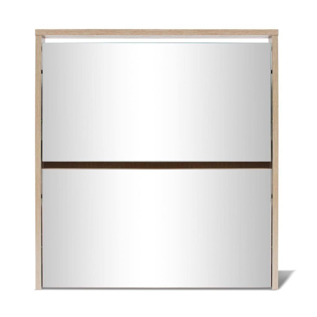 Vidaxl mueble zapatero 2 capas con espejo roble 63x17x67 for Mueble zapatero con espejo