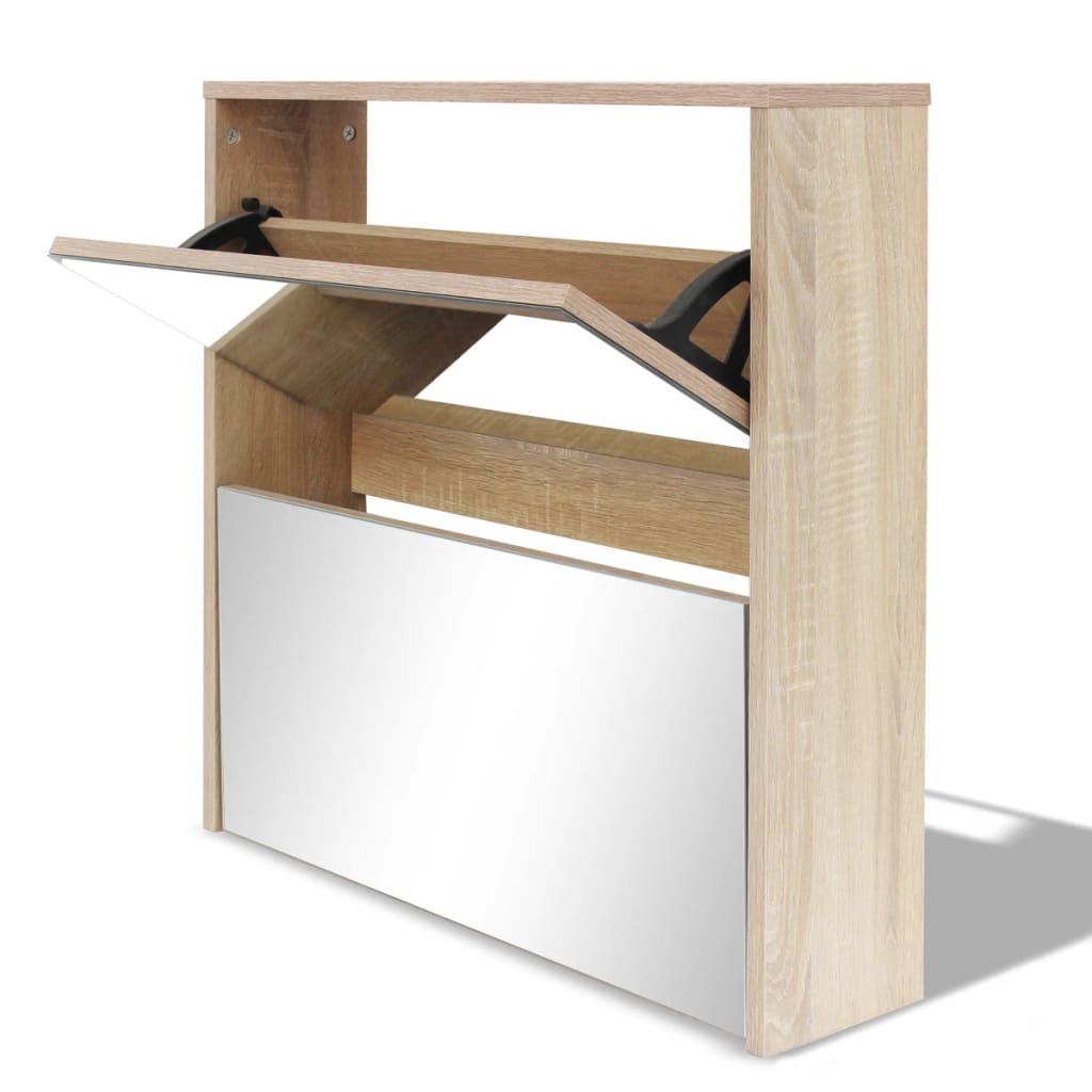 Handla vidaXL Skoskåp med 2 lådor och spegel ek 63x17x67 cm vidaXL se