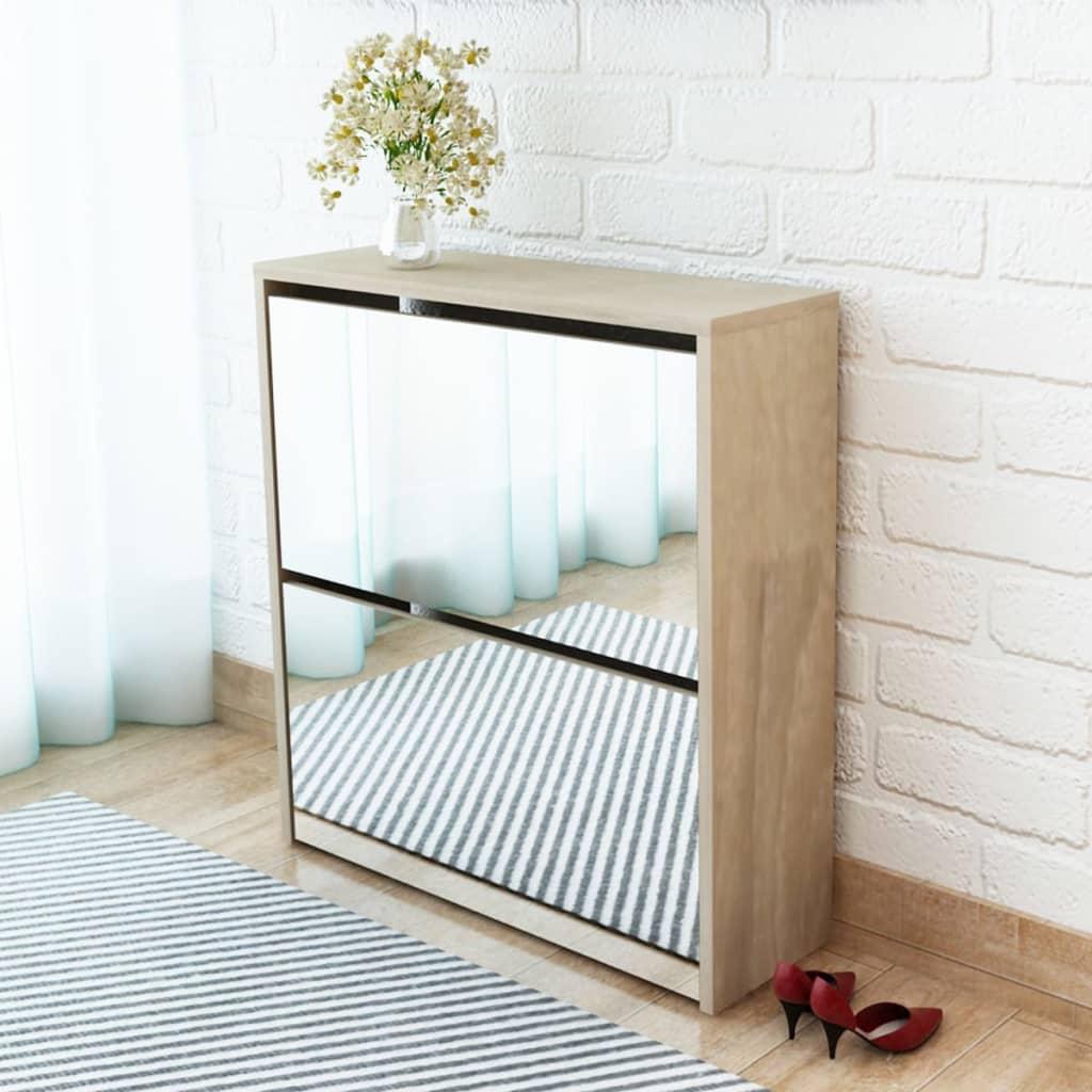 vidaXL 2 szintes tölgyfa cipőszekrény tükörrel 63 x 17 67 cm