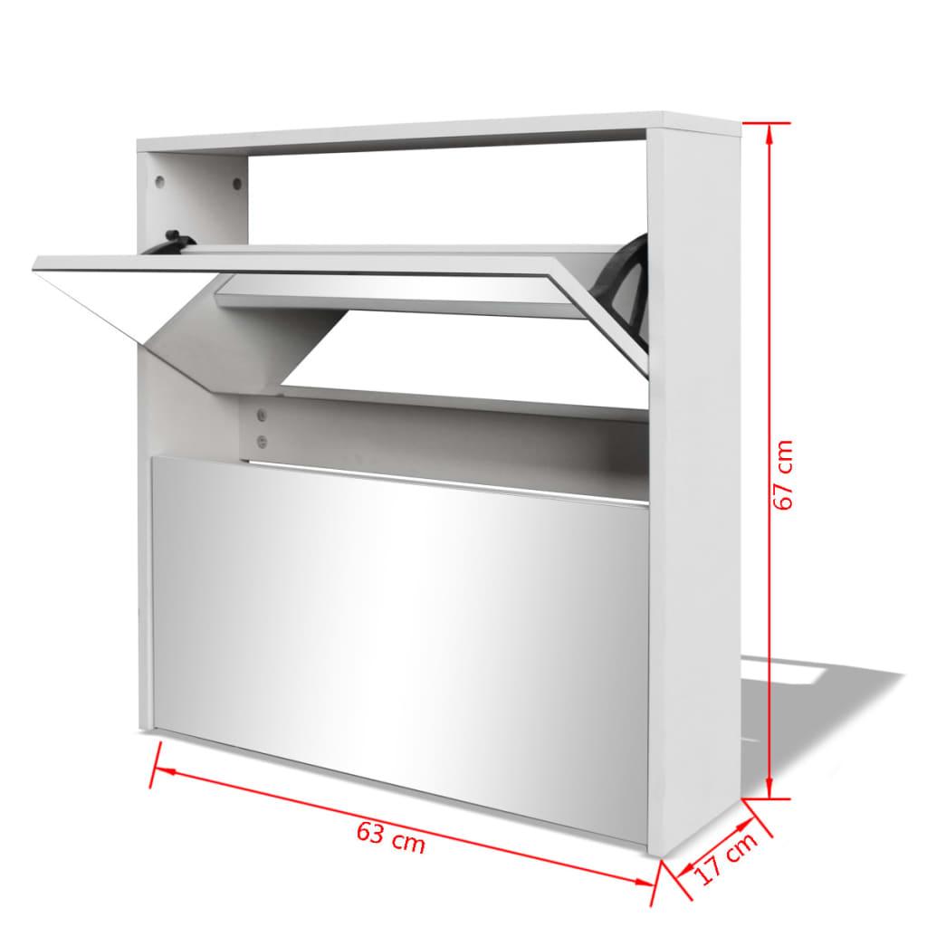 vidaXL se vidaXL Skoskåp med 2 lådor och spegel vit 63x17x67 cm