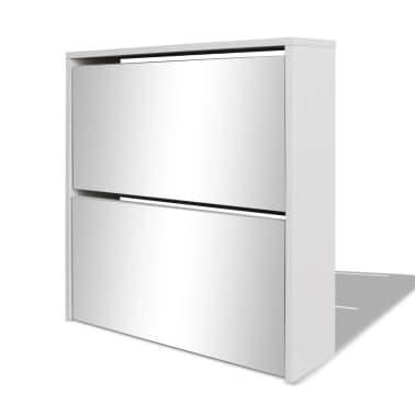 VidaXL Shoe Cabinet 2 Layer Mirror White 63x17x67 Cm
