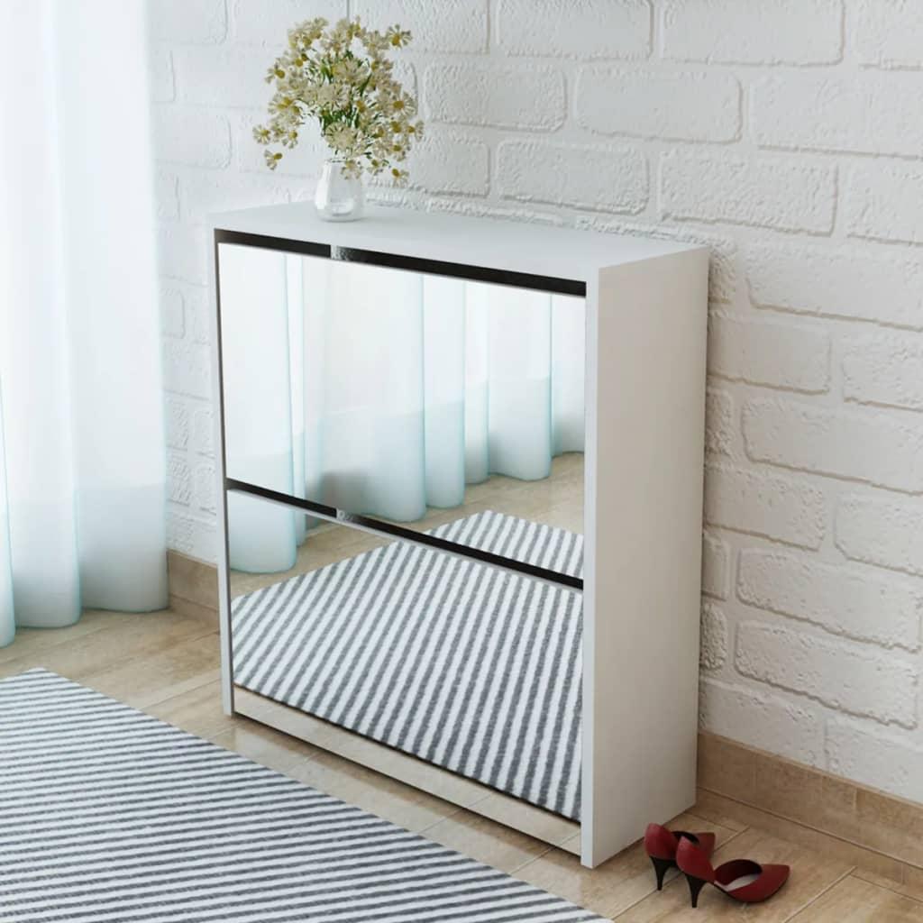 Vidaxl mueble zapatero blanco 2 capas con espejo 63x17x67 for Mueble zapatero con espejo