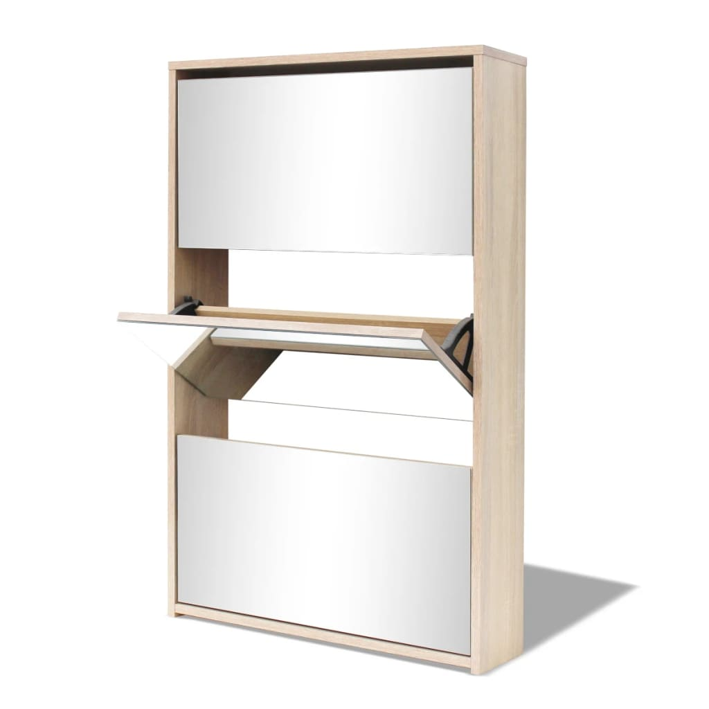 Acheter vidaxl meuble chaussures 3 tages avec miroir 63 - Meuble a chaussures avec miroir ...