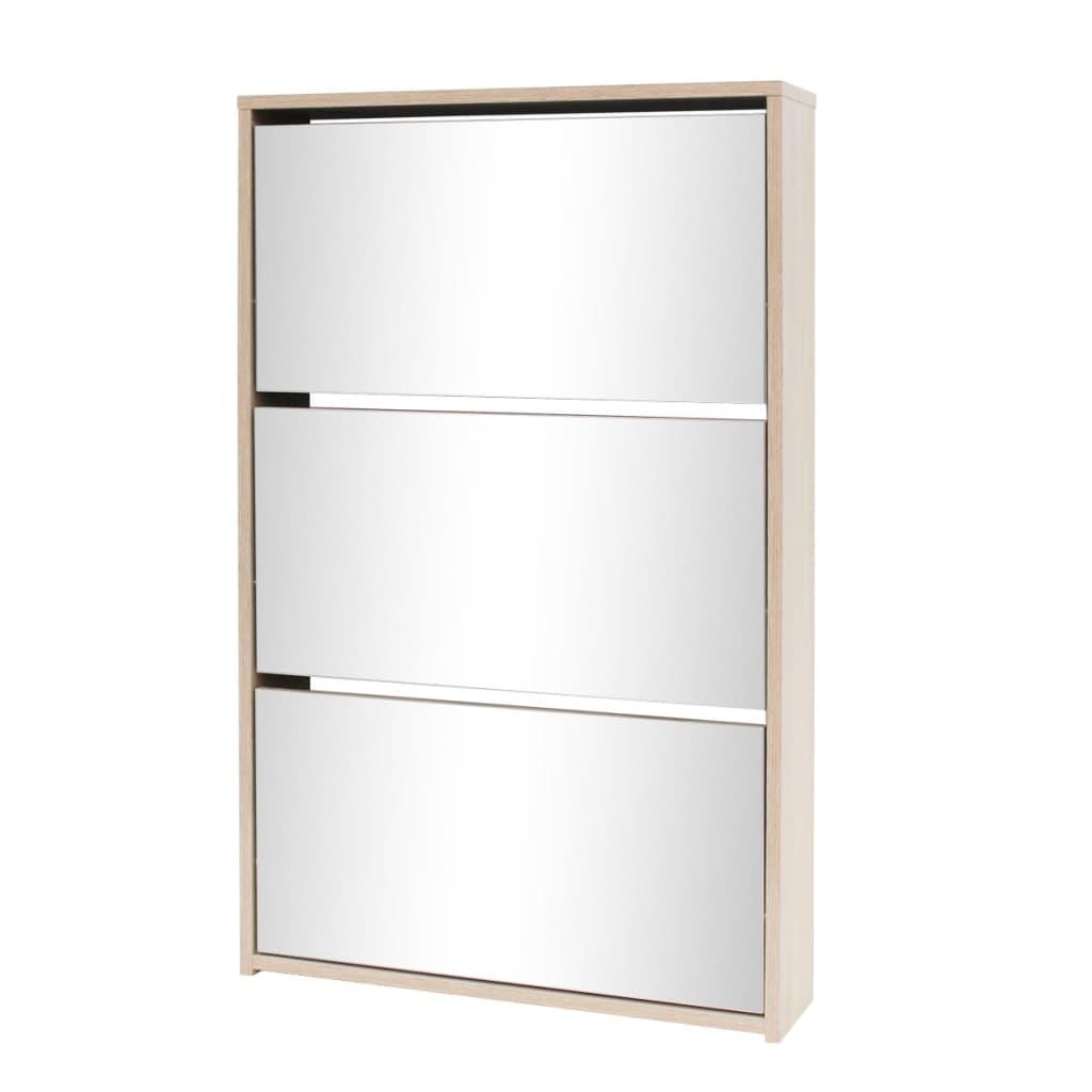 Vidaxl mueble zapatero 3 capas con espejo roble 63x17x102 for Mueble zapatero con espejo