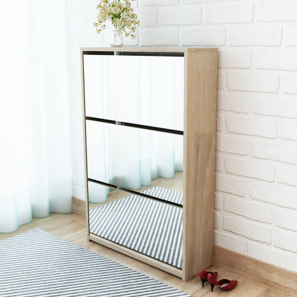 vidaXL 3 szintes tölgyfa cipőszekrény tükörrel 63 x 17 102,5 cm
