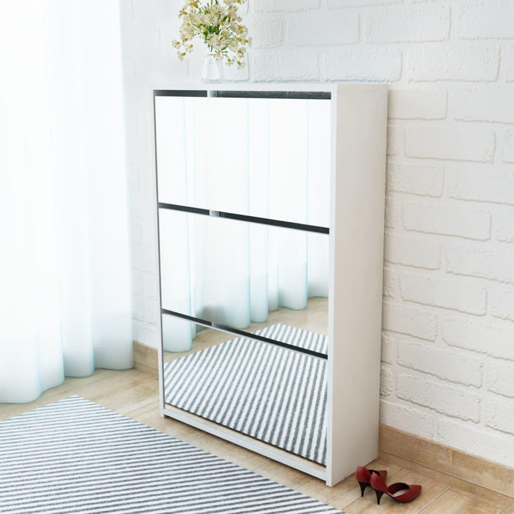 vidaXL 3 szintes fehér cipőszekrény tükörrel 63 x 17 102,5 cm