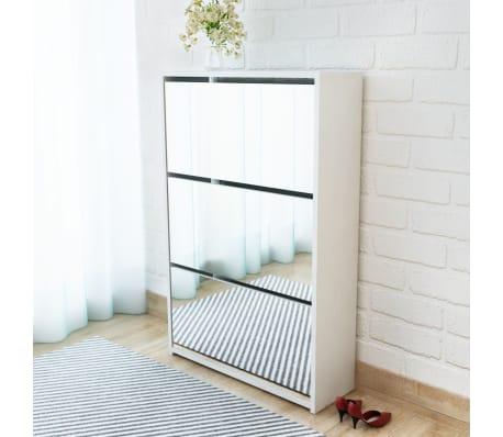vidaxl schuhschrank mit 3 f chern spiegel wei 63x17x102 5 cm g nstig kaufen. Black Bedroom Furniture Sets. Home Design Ideas