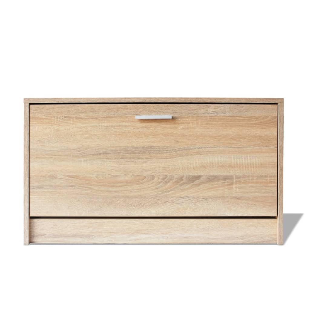 vidaxl schuhschrank sitzbank schuhregal 2 f cher schuhkipper flur diele eiche ebay. Black Bedroom Furniture Sets. Home Design Ideas