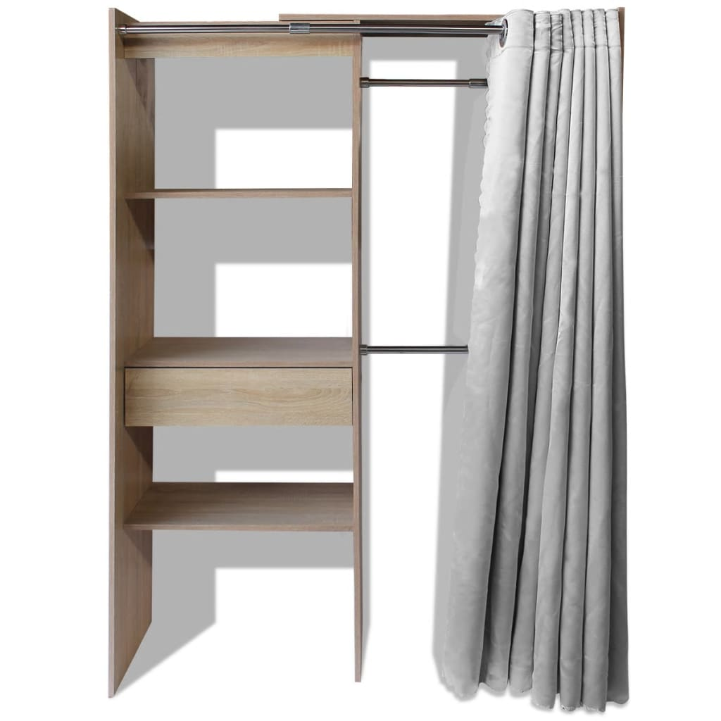 vidaxl kleiderschrank vorhang garderobe schlafzimmer schrank b 121 168cm eiche ebay. Black Bedroom Furniture Sets. Home Design Ideas