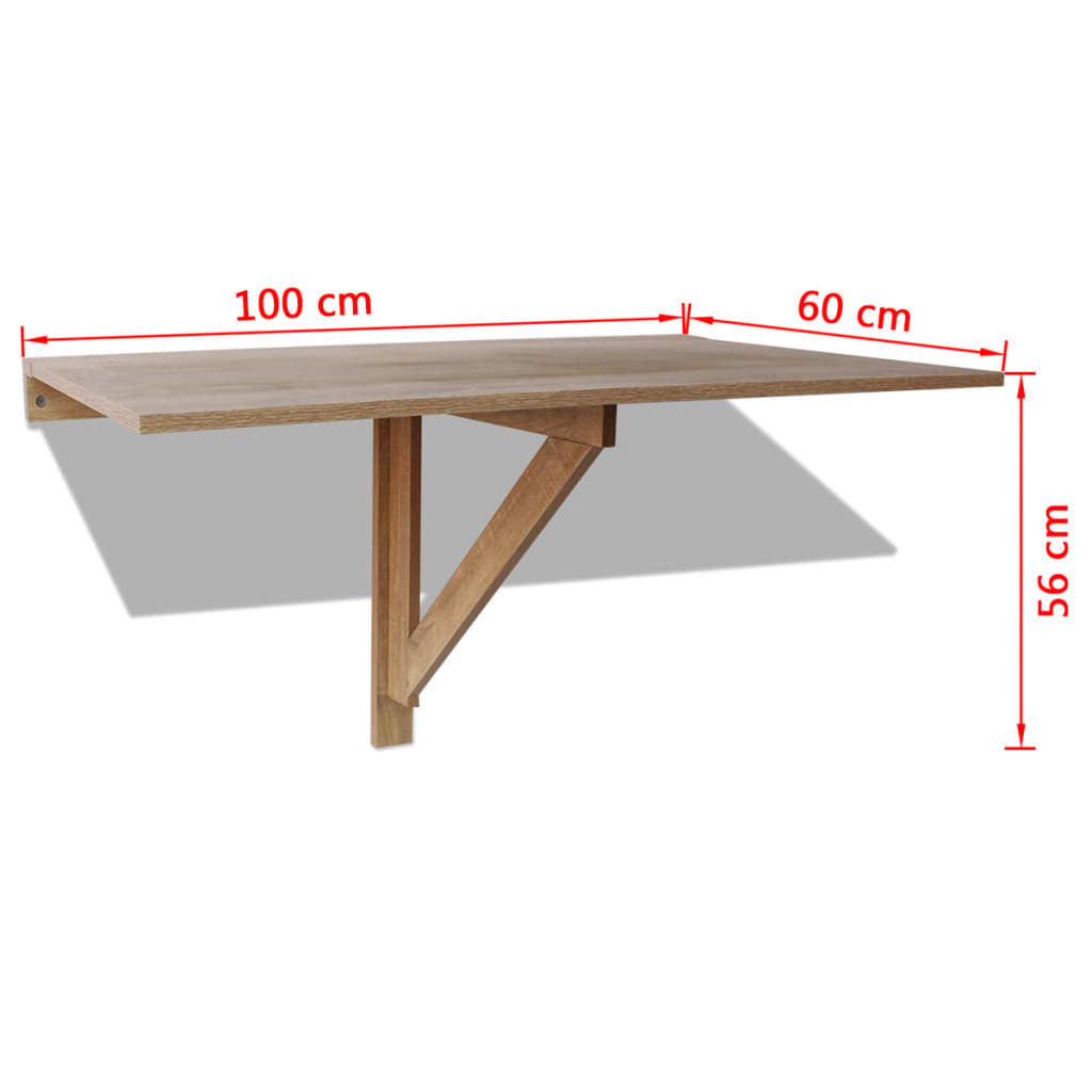 acheter vidaxl table murale rabattable en ch ne 100 x 60 cm pas cher. Black Bedroom Furniture Sets. Home Design Ideas