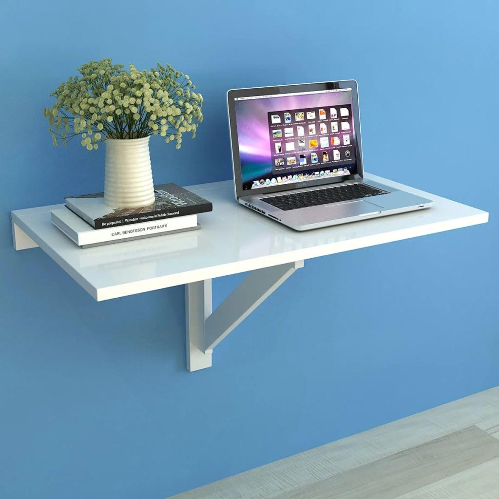 vidaXL 100x60 cm fali lehajtható asztal fehér