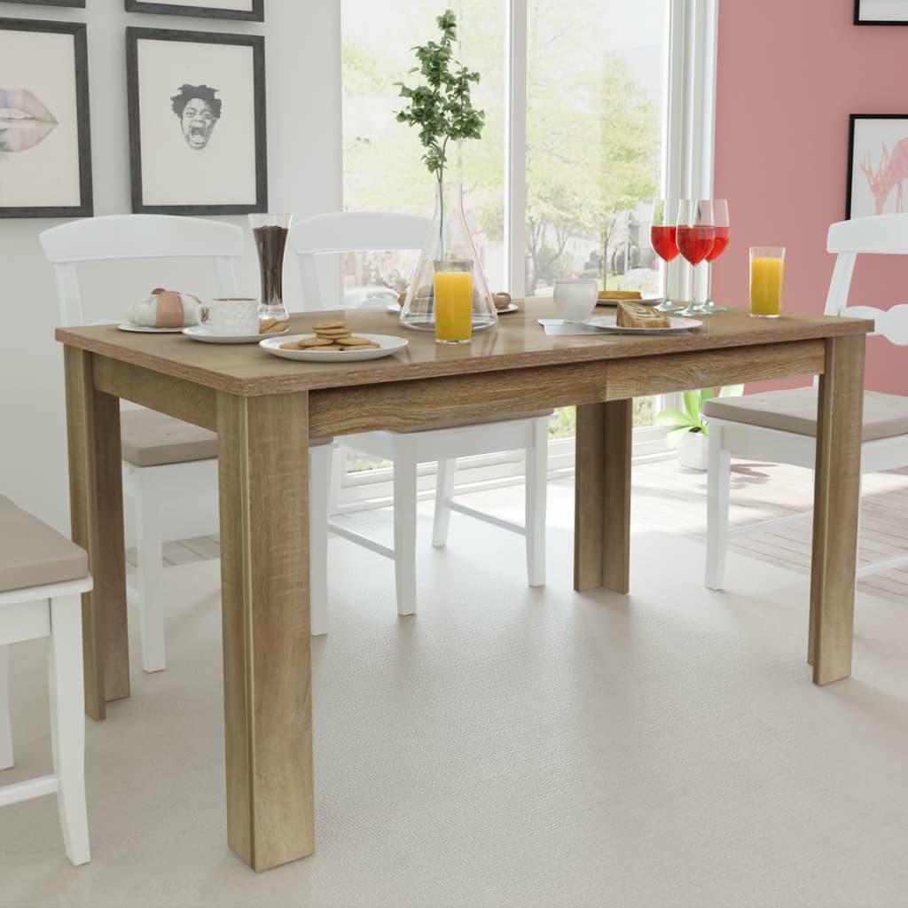 vidaXL 140x80x75 cm tölgyfa étkezőasztal