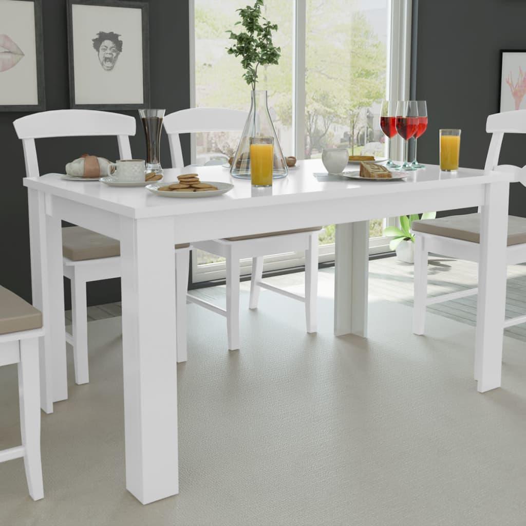 Vidaxl mesa de comedor blanca 140x80x75 cm mesa para cocina madera elegante ebay - Mesa blanca comedor ...
