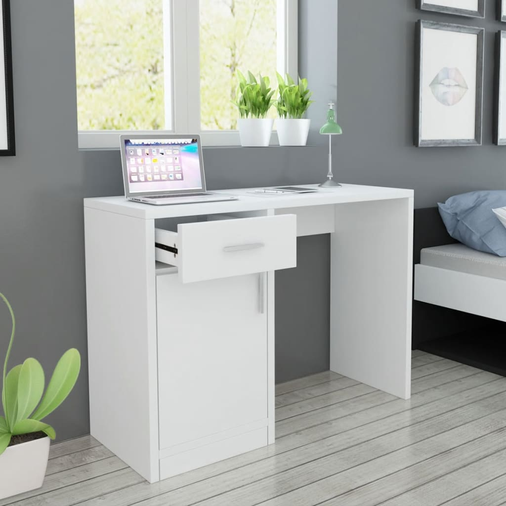 acheter vidaxl bureau avec tiroir et placard 100x40x73 cm blanc pas cher. Black Bedroom Furniture Sets. Home Design Ideas