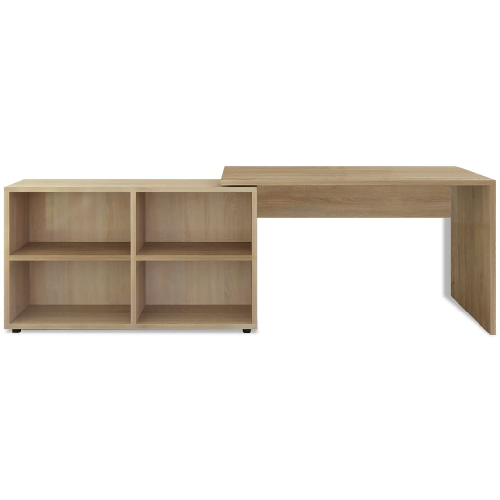 Vidaxl corner desk 4 shelves oak - Corner desks with shelves ...