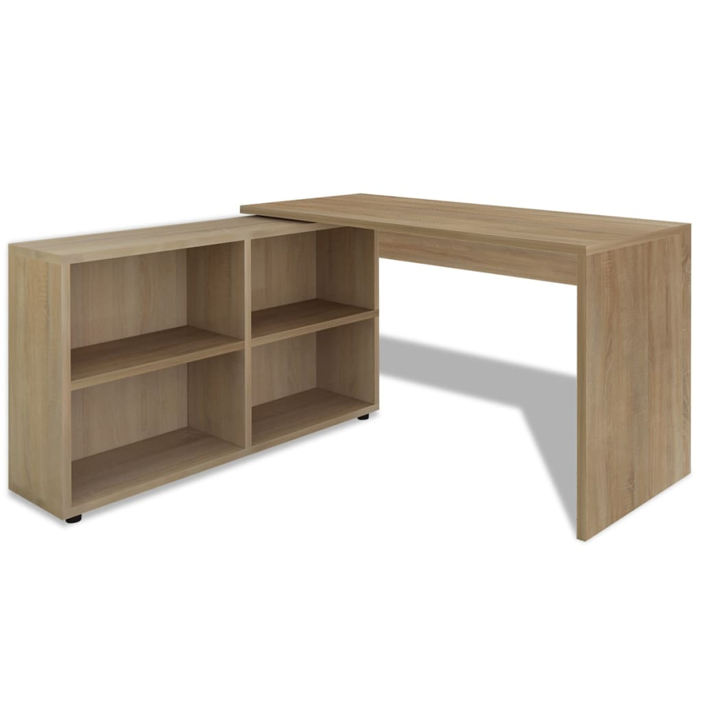 vidaxl corner desk 4 shelves oak. Black Bedroom Furniture Sets. Home Design Ideas