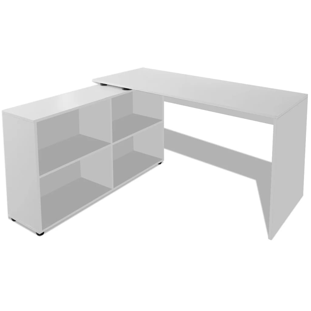 Vidaxl corner desk 4 shelves white - Corner desks with shelves ...
