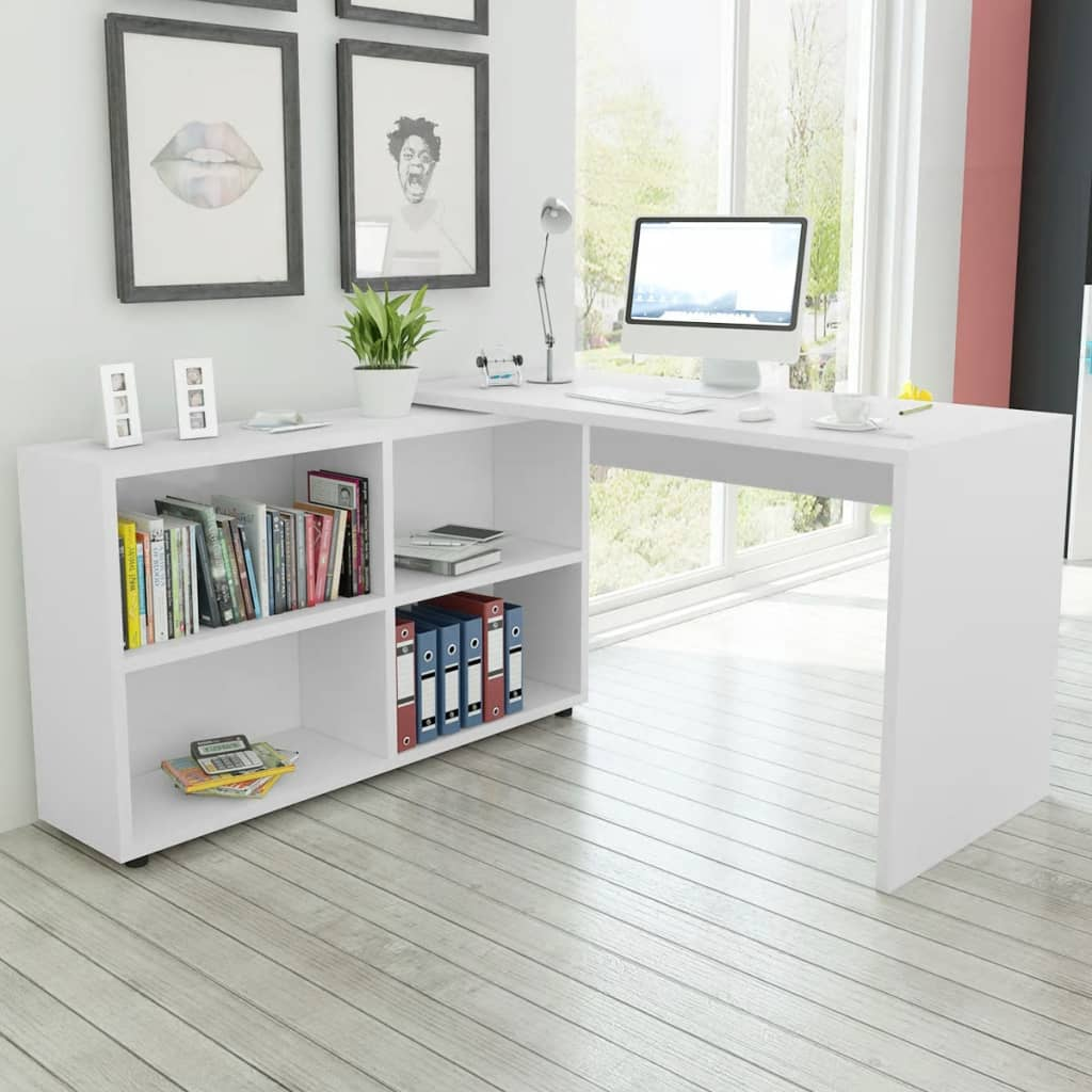 Vidaxl Co Uk Vidaxl Corner Desk 4 Shelves White