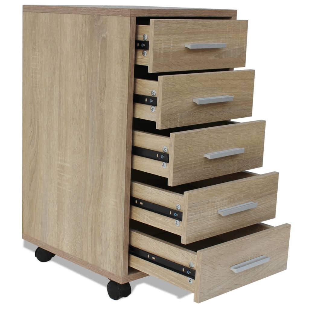 acheter vidaxl caisson tiroir de bureau avec roulettes 5 tiroirs ch ne pas cher. Black Bedroom Furniture Sets. Home Design Ideas