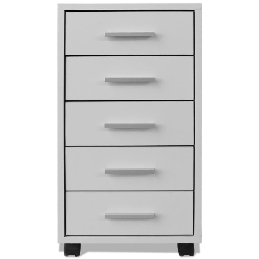 la boutique en ligne vidaxl caisson tiroir de bureau avec roulettes et 5 tiroirs blanc. Black Bedroom Furniture Sets. Home Design Ideas