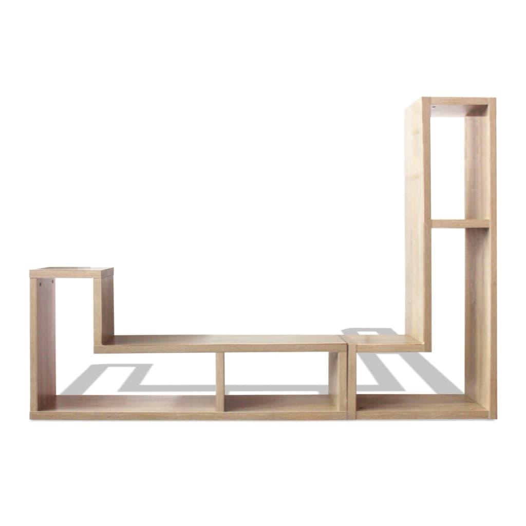 acheter vidaxl meuble tv double en forme de l ch ne pas cher. Black Bedroom Furniture Sets. Home Design Ideas
