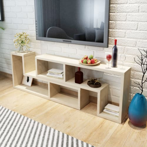 Vidaxl tv cabinet stand shelf home furniture dvd player double l shape oak white
