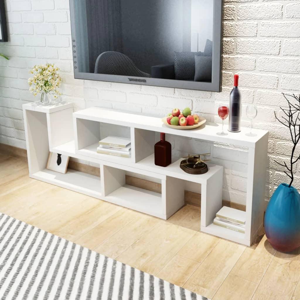 vidaXL TV szekrény két L-alakú polccal fehér