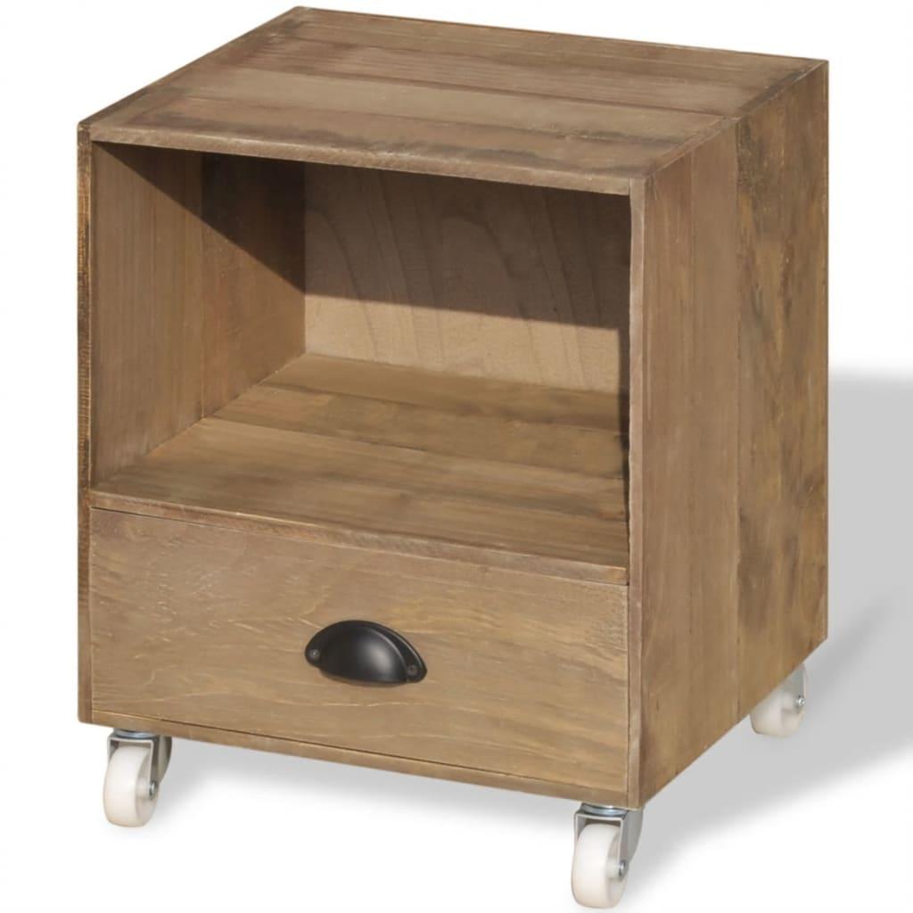 la boutique en ligne vidaxl table de chevet bois massif marron. Black Bedroom Furniture Sets. Home Design Ideas