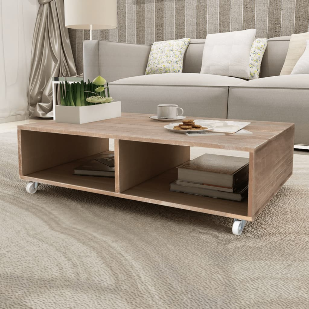 Coffee-Table-Living-Room-Side-Table-with-Castor-Large-Compartments-Solid-Wood