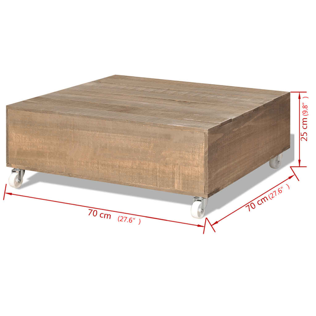 Vidaxl Coffee Table Brown Solid Wood