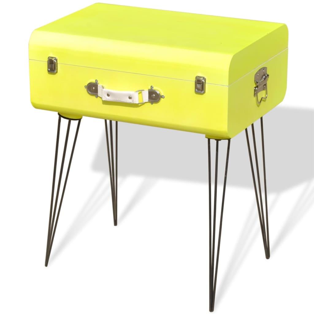 vidaXL Szafka w kształcie żółtej walizki 49,5 x 36 x 60 cm