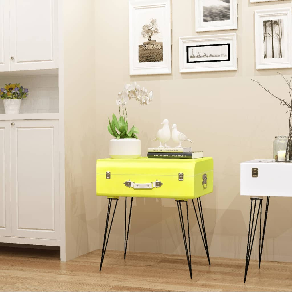 acheter vidaxl table de chevet 49 5 x 36 x 60 cm jaune pas cher. Black Bedroom Furniture Sets. Home Design Ideas