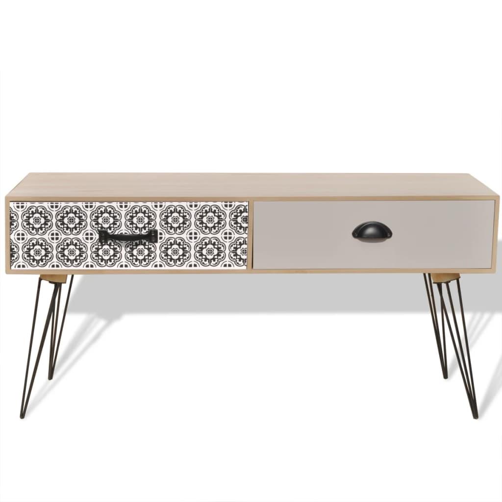 vidaXL-Tavolino-Porta-TV-Tavolo-Laterale-Con-Cassetti-100x40x35-cm-Marrone