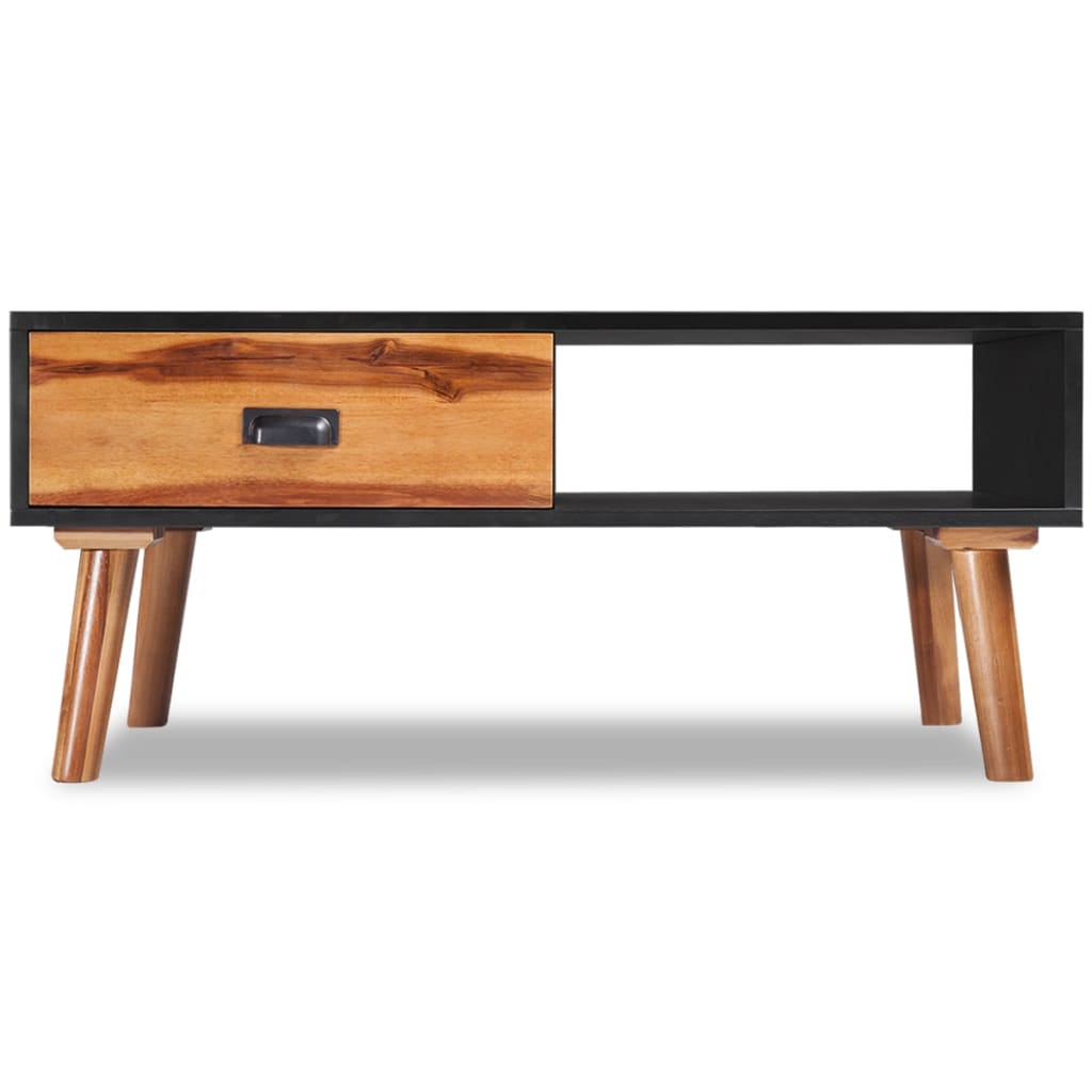 Vidaxl solid acacia wood coffee table 90x50x40 cm vidaxl for Solid wood coffee table