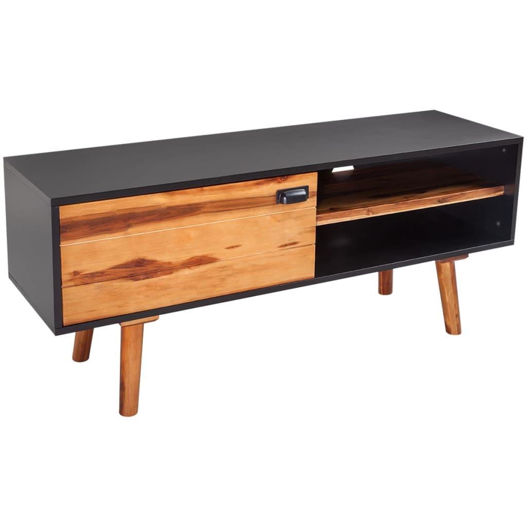 acheter vidaxl bois d 39 acacia massif meuble tv 120 x 35 x. Black Bedroom Furniture Sets. Home Design Ideas