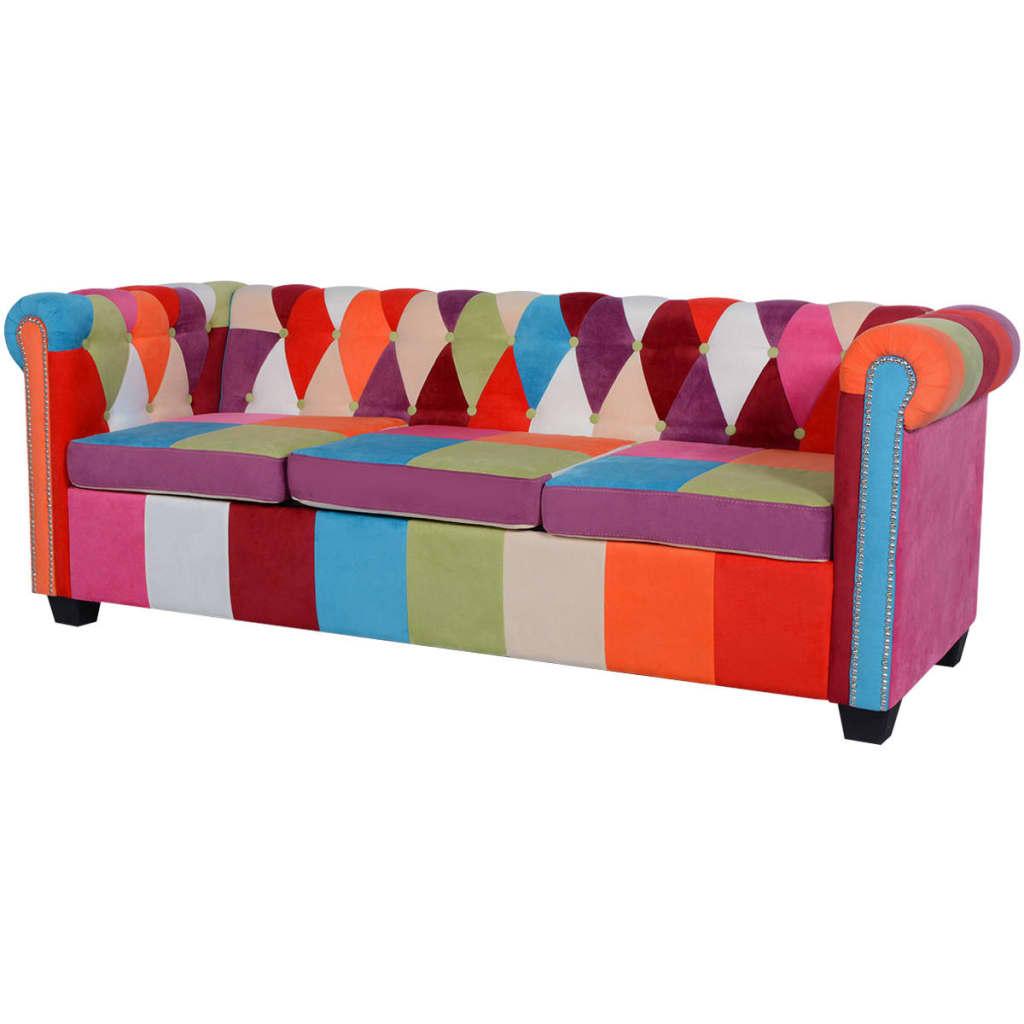 vidaXL Trzyosobowa sofa materiałowa Chesterfield