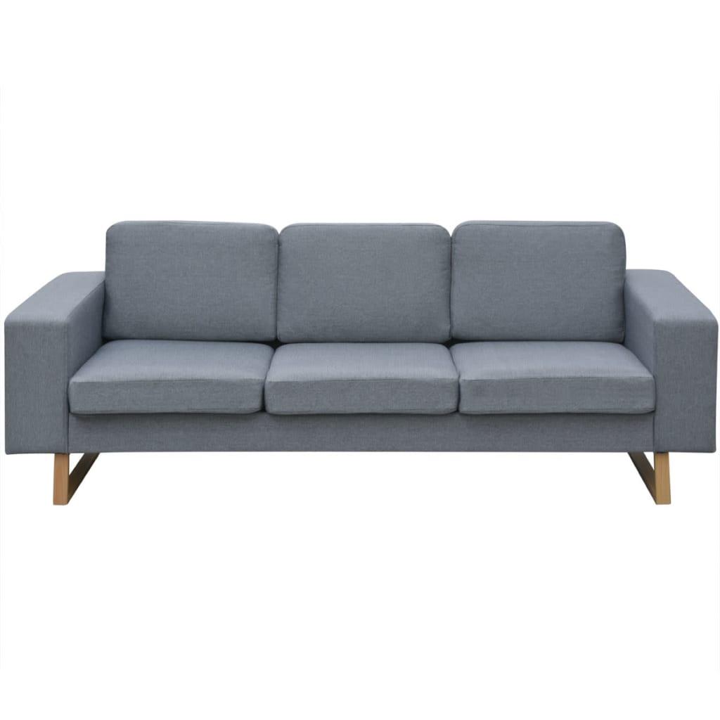 vidaxl 3 sitzer sofa stoff hellgrau g nstig kaufen. Black Bedroom Furniture Sets. Home Design Ideas