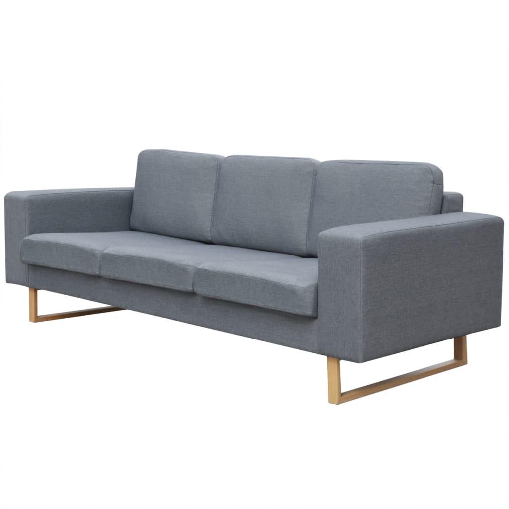 Vidaxl divano a 3 posti in tessuto grigio chiaro - Divano grigio chiaro ...