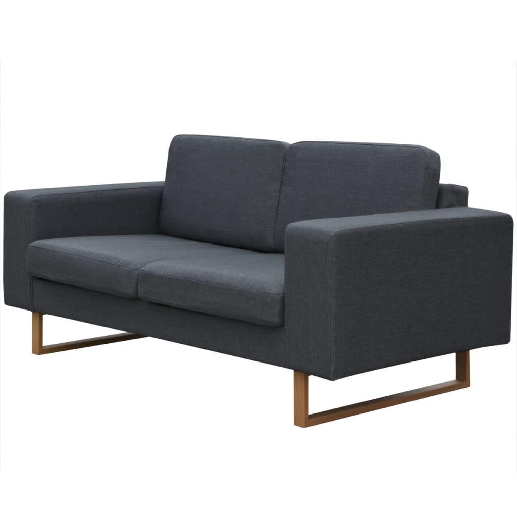 vidaXL Sofa 2-os. ciemnoszara