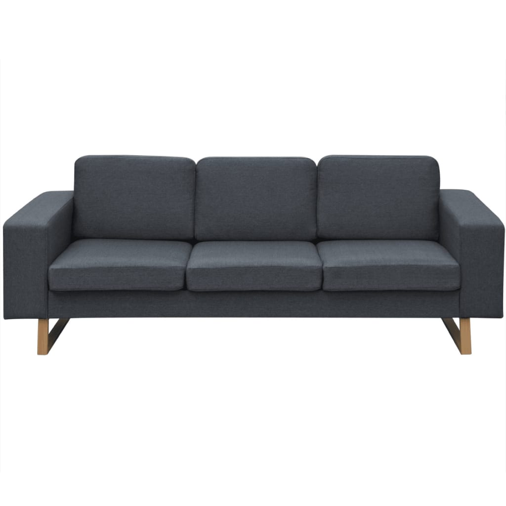 Vidaxl divano a 3 posti in tessuto grigio scuro - Divano grigio scuro ...