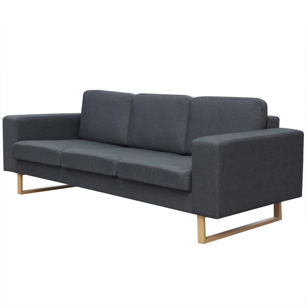 vidaXL 3 személyes sötét szürke szövet kanapé