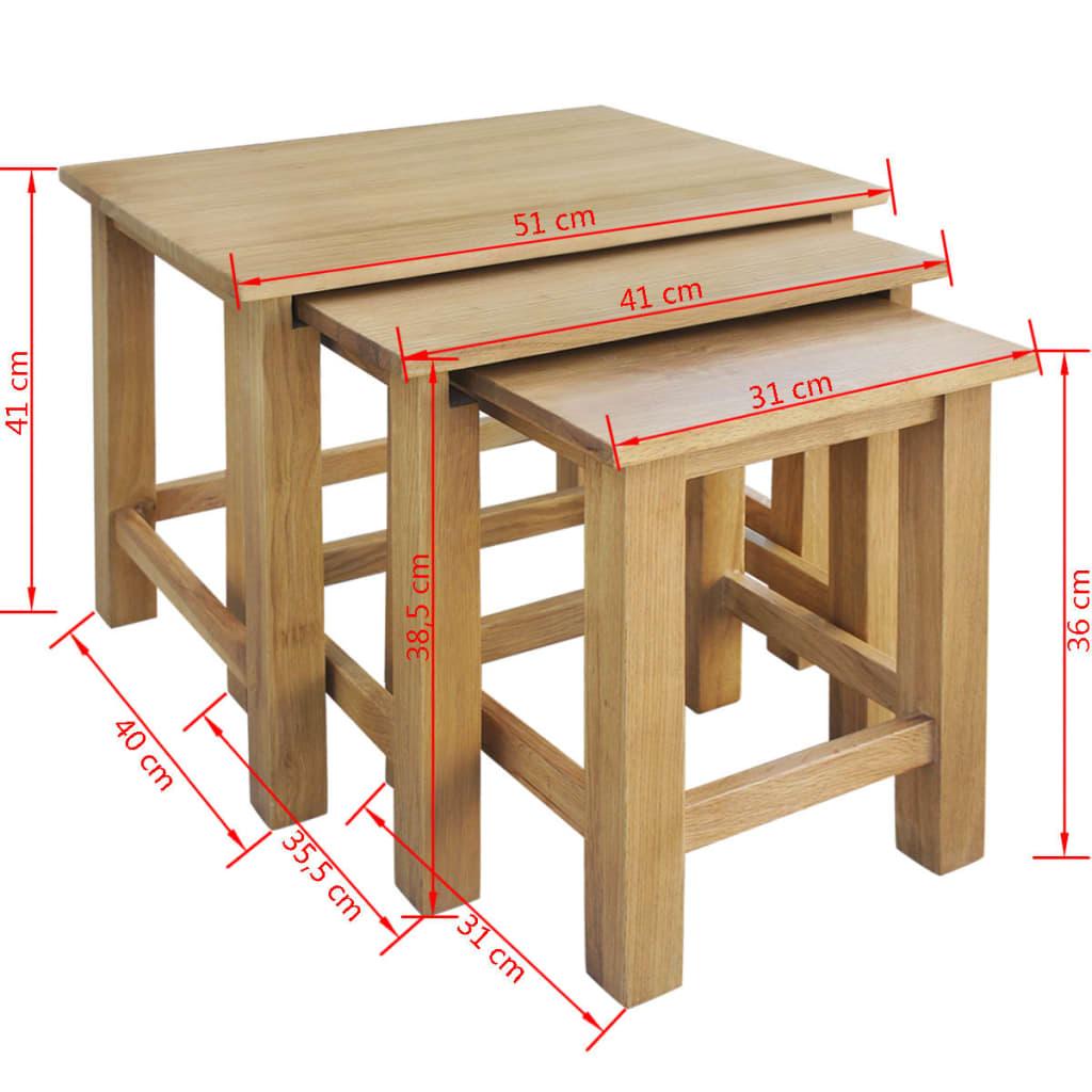 Acheter vidaxl tables gigognes trois pi ces ch ne pas cher - Tables gigognes pas cher ...