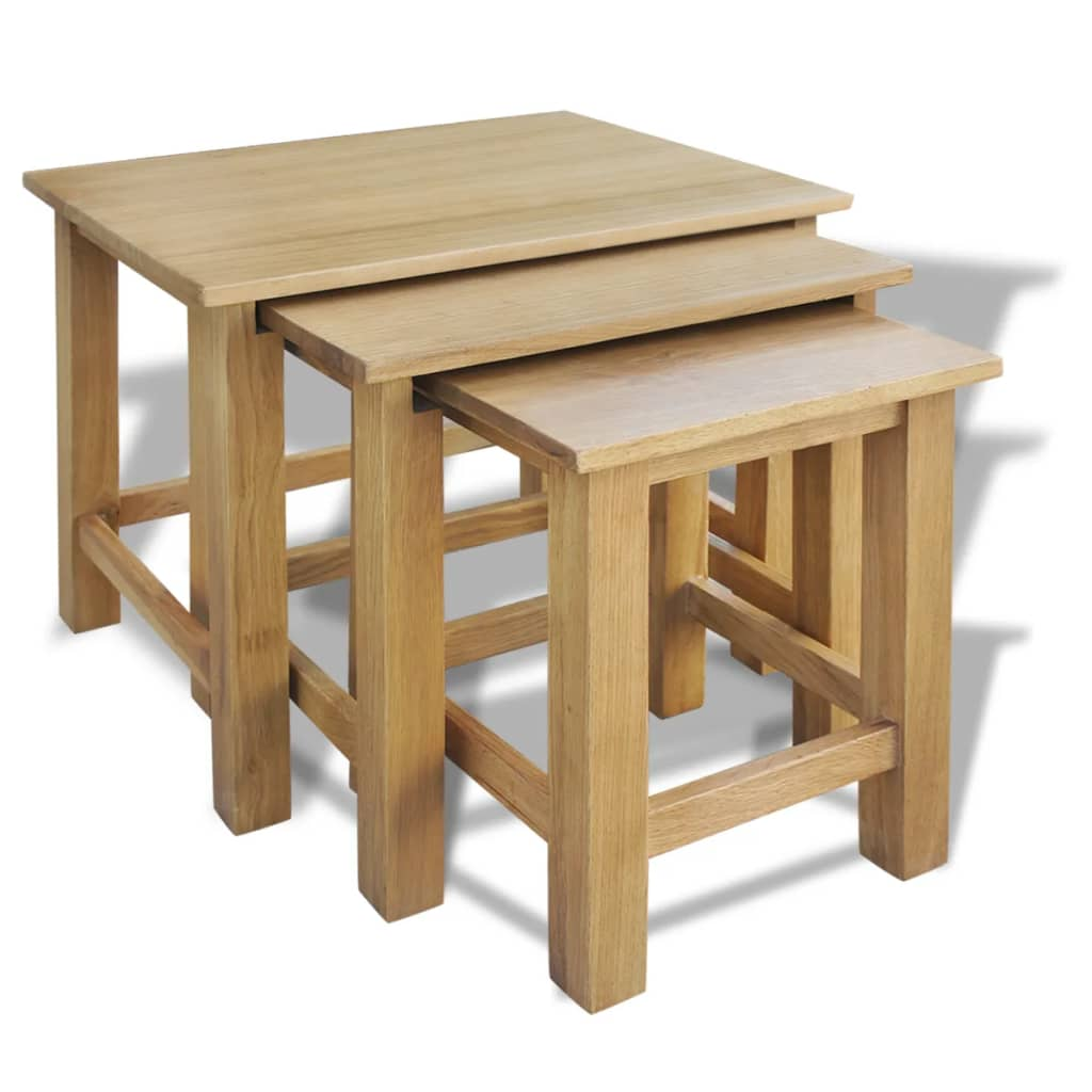 vidaXL három darab egymásba rakható tölgyfa asztal