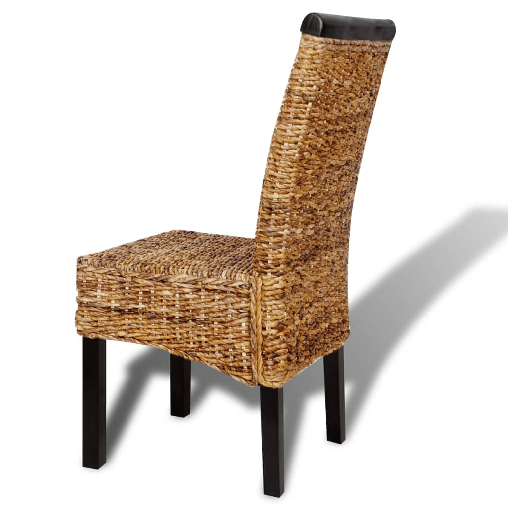 VidaXL 2 Pcs Rattan Abaca Wicker Chair W/ Backrest Dining