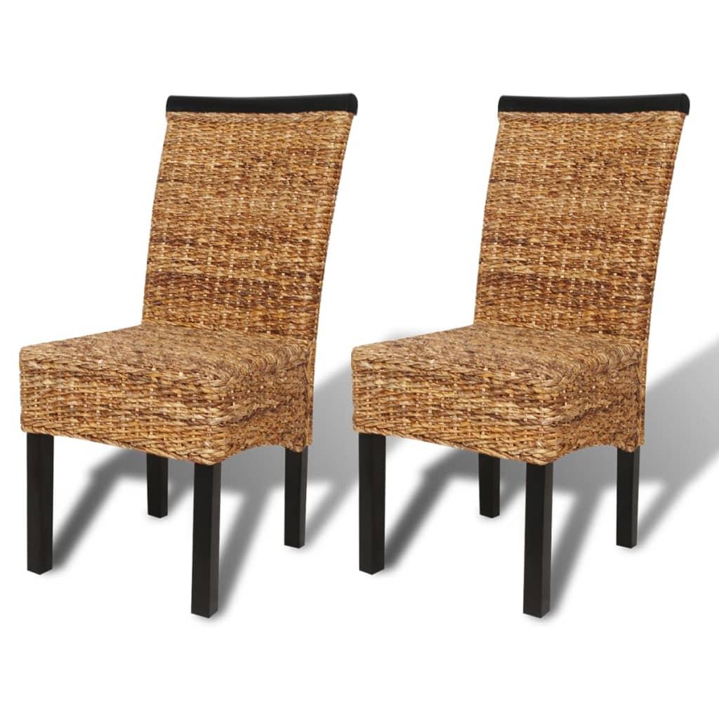 vidaXL Krzesła do jadalni z abaki, brązowe 2 szt.