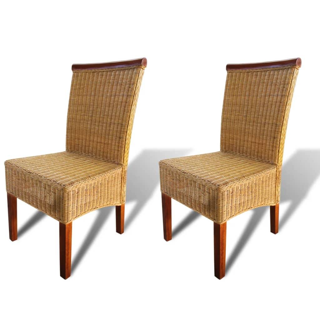 vidaXL Krzesła do jadalni rattanowe, brązowe, 2 szt.